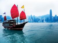 Picture of a chinese junk in Hong Kong Harbor
